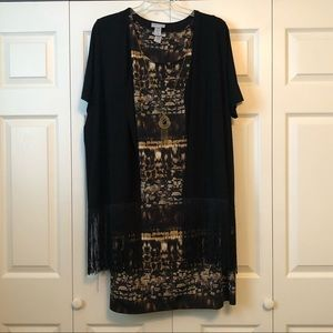 Women's Plus Dress, Cardigan, and Necklace Set
